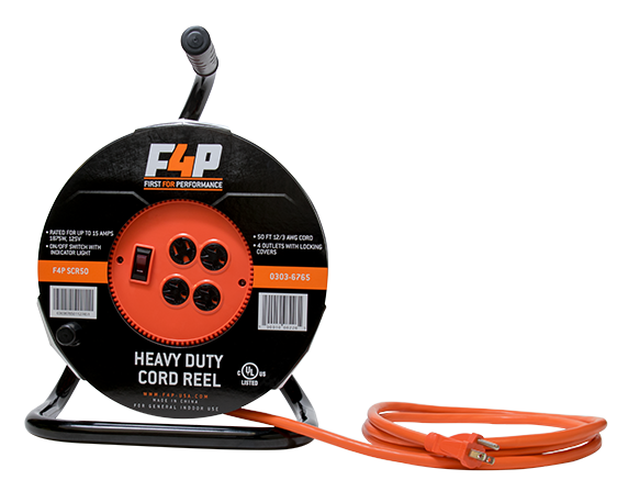 F4p 50ft 4 Outlet Portable Cord Reel